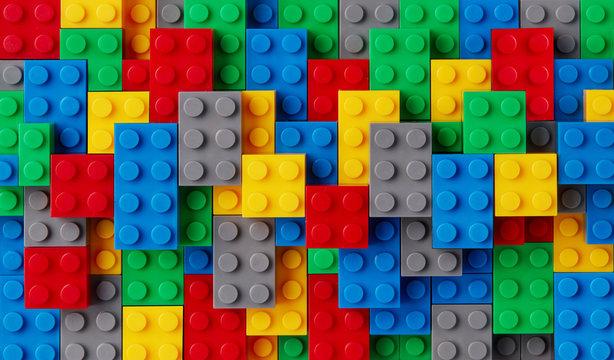 Multi-colored plastic blocks background