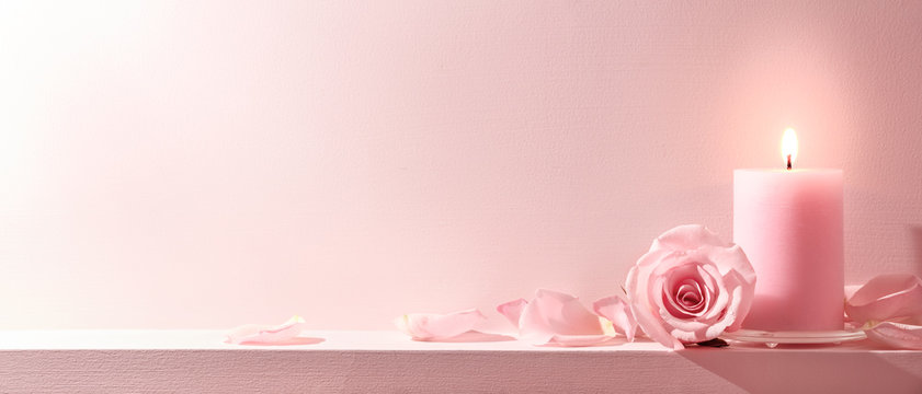 Pink Roses and candle on a pink background