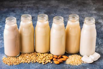 A bottles of alternative  milk and ingredient