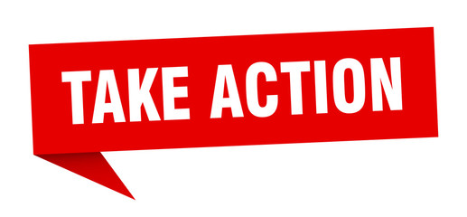 take action speech bubble. take action ribbon sign. take action banner