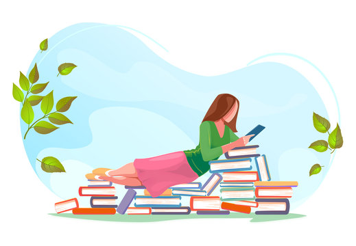 Girl reading, relax on stacks of books in spring background. Love read concept design. Beautiful green summer nature with Flat character. Modern vector card for web design, isolated white background