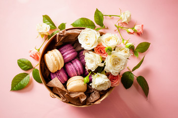 Poster Macarons Box with delicious bright macaroons and flowers