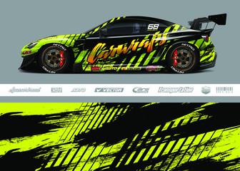 Race car livery design vector. Graphic abstract stripe racing background designs for vinyl wrap, race car, cargo van, pickup truck and adventure. Full vector Eps 10. Fotobehang