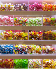 Sweets on display for pick and mix in candy shop
