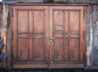 wooden door or wood gate with closed doors