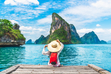 Traveler woman looking amazed nature scenic landscape island Phang Nga bay, Attraction adventure landmark tourist travel Phuket Thailand summer holiday vacation, Tourism beautiful destinations Asia Fotomurales