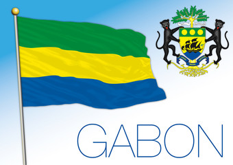 Gabon official national flag and coat of arms, african country, vector illustration