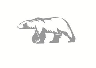 polar bear vector silhouette illustration on black background