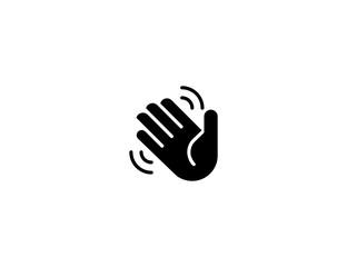Waving hand vector flat icon. Isolated hello, hi, bye hand gesture emoji illustration