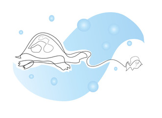 One continuous line drawing of sea turtle chases to tiny fish in the sea. Simple line art drawing of sea turtle chases to tiny fish in the sea.