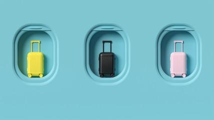 Travel luggage on airplane window porthole, conceptual background, minimalist pastel colors, front...