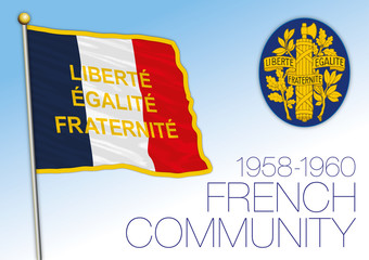 French Community historical flag, french african countries, 1958-1960, vector illustration
