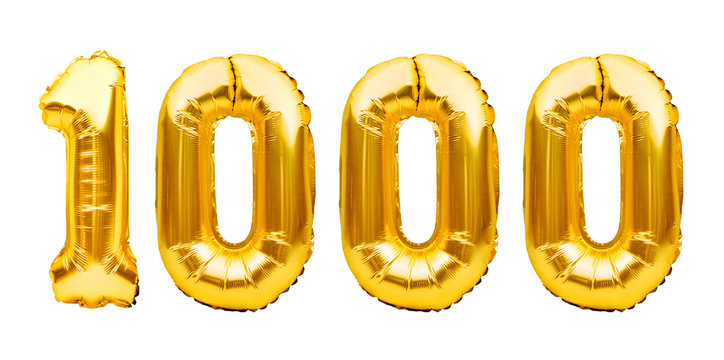 Number 1000 one thousand made of golden inflatable balloons isolated on white. Helium balloons, gold foil numbers. Party decoration, 1000 subscribers or followers and likes