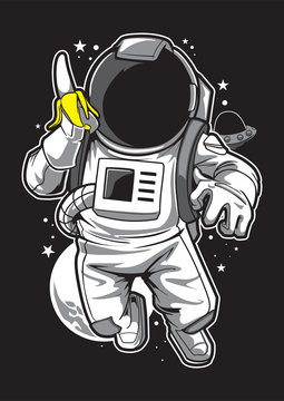 Astronaut & Banana Illustration Mascot Tshirt
