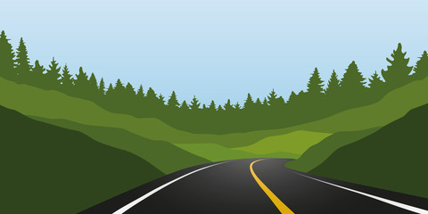 asphalt road in green mountains summer landscape vector illustration EPS10