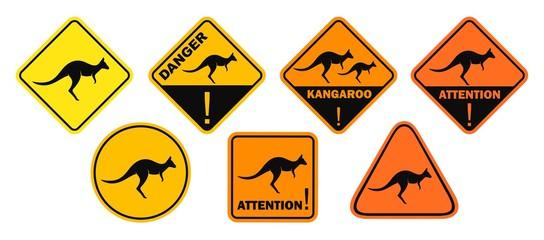Kangaroo road sign. Isolated kangaroo on white background