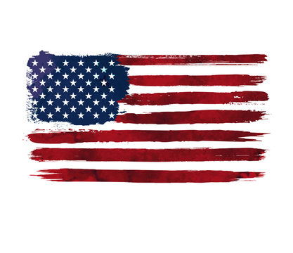 Watercolor flag of america. USA flag