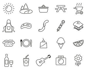 Picnic Or Barbecue Icons Black & White Thin Line Set Big