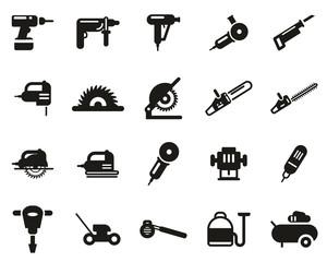 Power Tools Icons Black & White Set Big