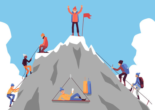 Cartoon people climbing mountain and happy man standing on top