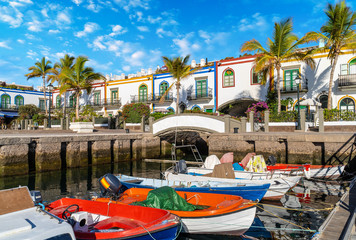 Wall Mural - Puerto de Mogan landscape, a small fishing port on island Gran Canaria, Spain