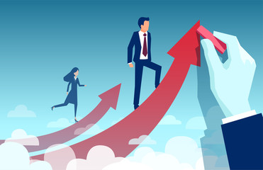 Vector of a businesswoman climbing up her own career path while businessman being supported by corporate hand