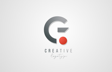 letter G logo alphabet icon design template elements in grey and red for business