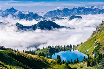 Germany, Bavaria, Allgaeu Alps, Oberstdorf, Seealpsee in mountain landscape Fotobehang