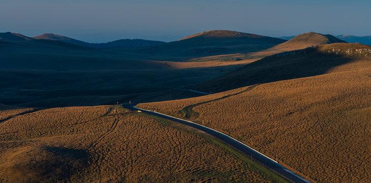 bucegi park road, Sunrise morning on the montain in Romania,