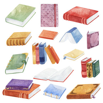 Large set of vintage books. Hand-drawn watercolor illustration. Grunge texture. Cute print.