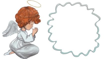 Angel is praying. Red-haired angel prays near the frame. Digital illustration