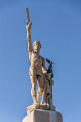 Victor Emmanuel II of Italy statue, king of Sardinia and united Italy, blue clear sky background