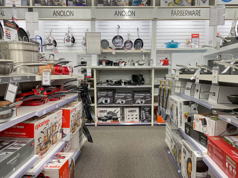 ISELIN, NEW JERSEY / UNITED STATES - January 9, 2020: Cookware sets, including pots and pans, on sale at Bed Bath and Beyond