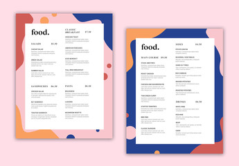 Menu Layout with Colorful Abstract Border