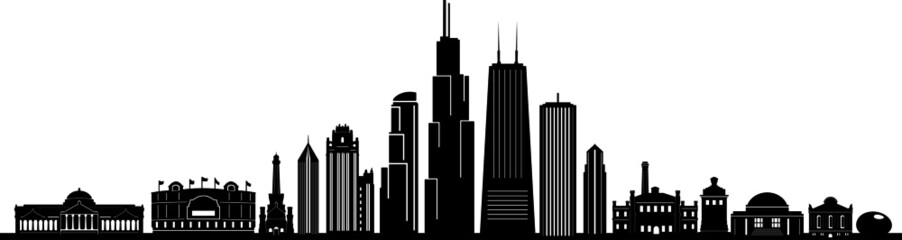 Fototapete - Chicago City Downtown Skyline Ouline Silhouette Vector