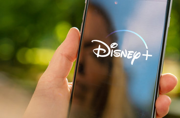 AACHEN, GERMANY - 07. February 2020 : Disney plus Video Streaming app on Apple iPhone.