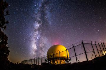 Printed kitchen splashbacks Eggplant Milky Way and radar dome atop Mount Laguna.