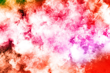 abstract powder splatted background. Colorful powder explosion on white background. Colored cloud. Colorful dust explode. Paint Holi.