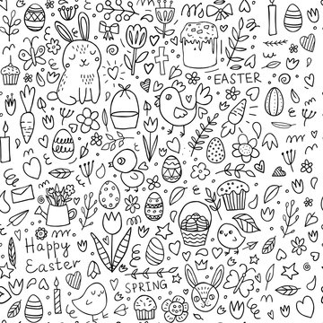 Easter seamless doodle background and spring elements: chickens, eggs, flowers, tulips and Easter rabbits