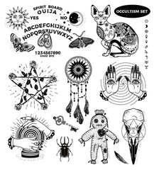 Occultism Set with Ouija board, Mystical Cat, Pentagram Of Roses, Dream Catcher, Hands with Eyes, Voodoo Doll, Crystal Ball, Rhinoceros Beetle, Crow Skull.