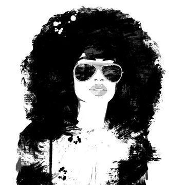 Painting woman big afro hair. Queen