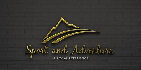 Adventure gold mountain logo. 3D Render illustration