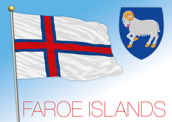 Faroe official national flag and coat of arms, Denmark, Europe, vector illustration
