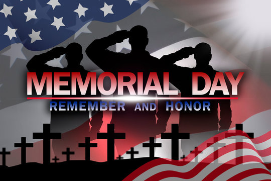 Memorial Day on the background of the American flag