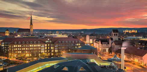 Skyline panorama of Hildesheim, Germany with St Andreas and St Michael churches