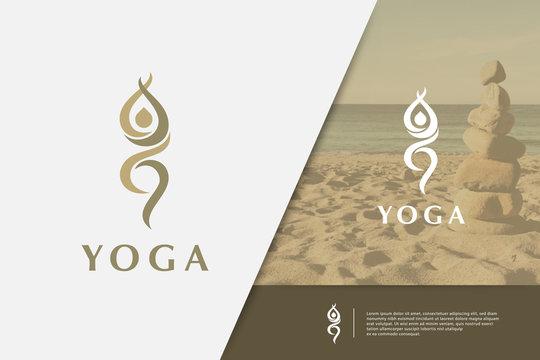Yoga pose vector logo design template