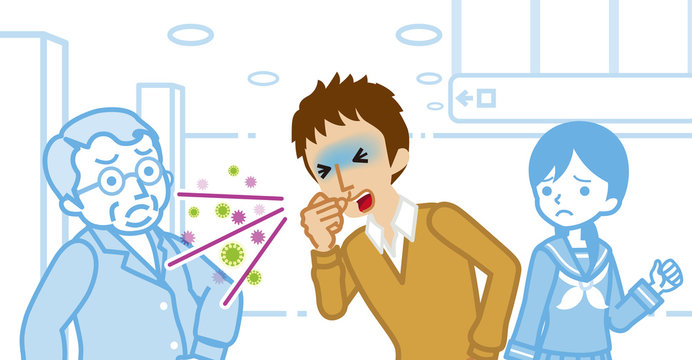 Coughing male high school student and annoyed people - spread virus concept art