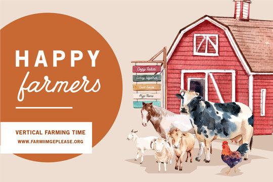 Farmer frame design with warehouse, animal watercolor illustration.