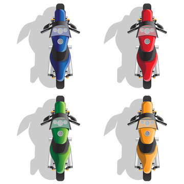 Set of sports motorcycles. Isolated on white background. Vector illustration.