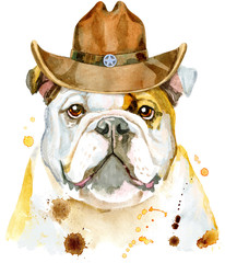 Watercolor portrait of bulldog with cowboy hat
